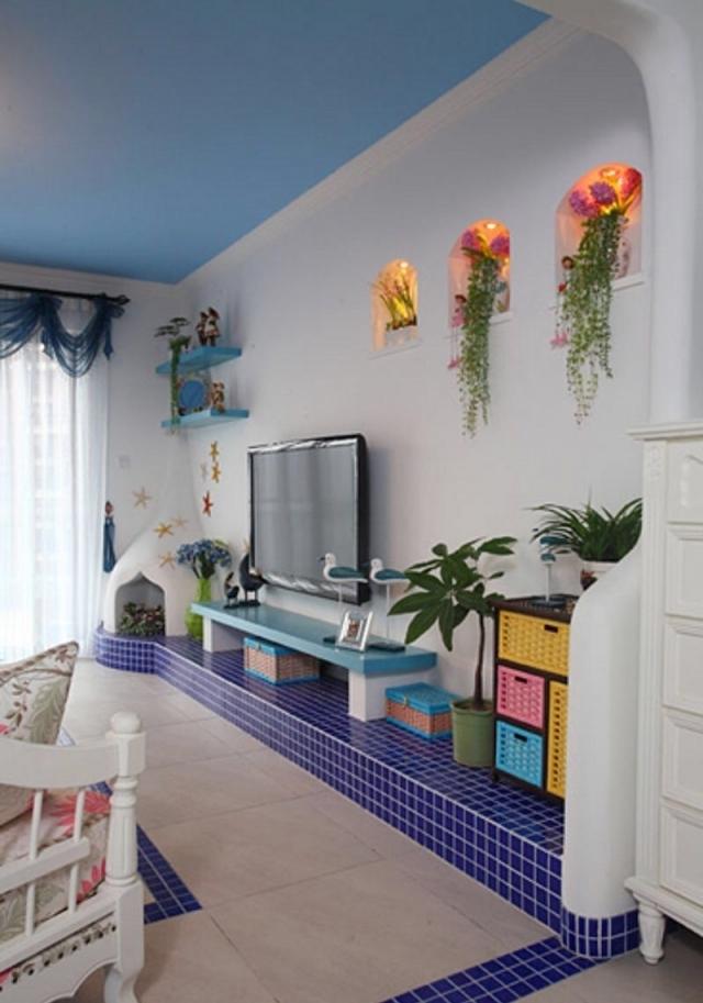 经典蓝色渲染客厅电视墙地中海风格设计效果图