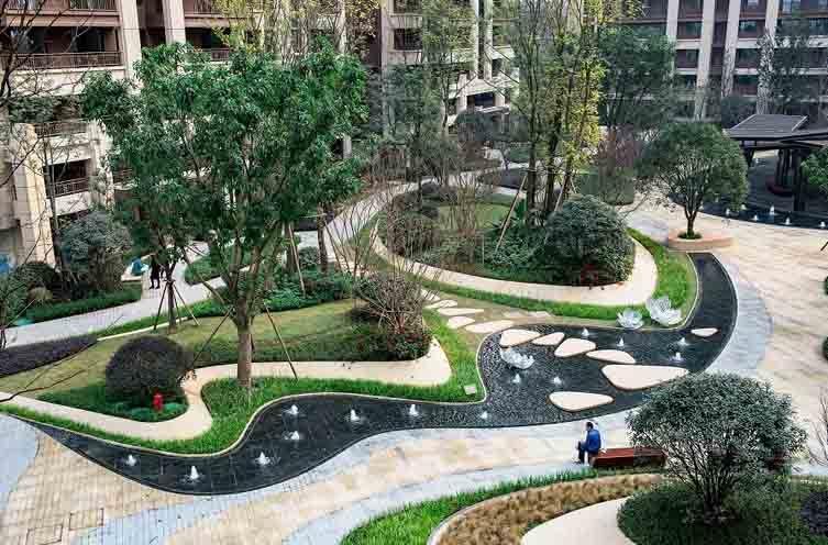 成都九里晴川大区新中式住宅景观