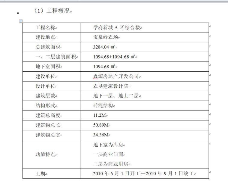 [黑龙江]学府新城综合楼施工组织设计(35页)