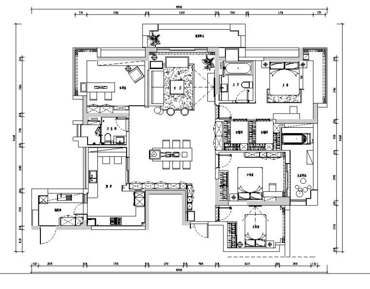顺发旺角城现代风住宅设计施工图(附效果图)