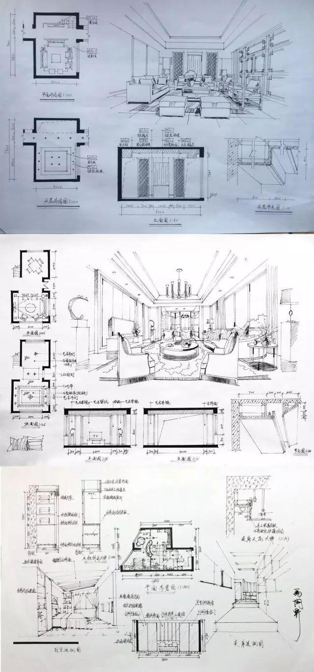 室内手绘 室内设计手绘马克笔上色快题分析图解_45