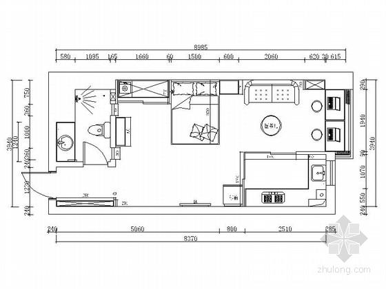 [北京]现代时尚简练一居室装修CAD施工图(含效果图)