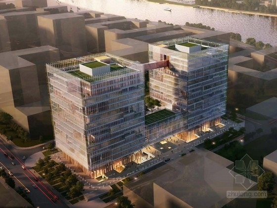 [上海]核心区现代风格高层办公楼建筑设计方案文本