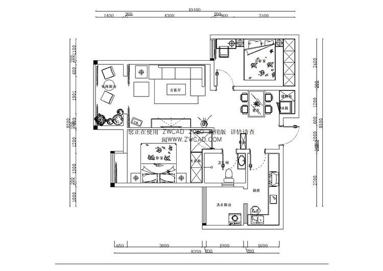 九龙城84平方两室两厅田园风格装修案例-20141228161510