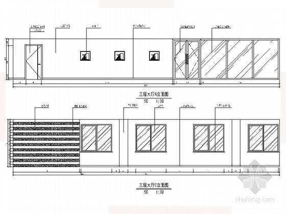 [沈阳]现代自然惬意楼盘物业办公室设计装修图(含效果)大厅立面图