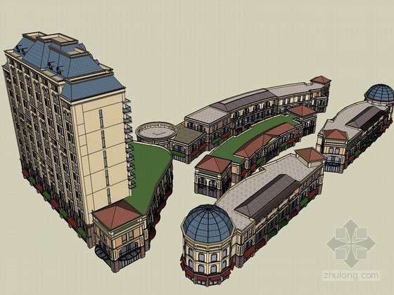 欧式商业区SketchUp模型下载