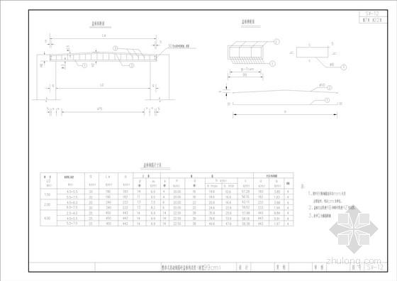 整体式基础钢筋砼盖板构造图