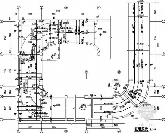 地下车库汽车坡道节点构造详图