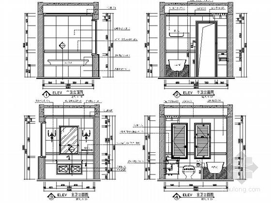 [安徽]奢派港湾小区简欧三居室样板房装修施工图主卫生间立面图