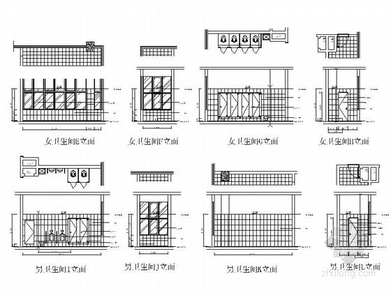 [北京]现代化产业园区高档研发大楼装修施工图卫生间立面图