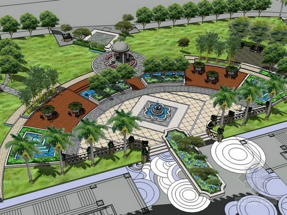 某购物广场景观设计sketchup模型下载