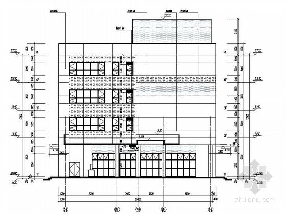 [湖北]物流港多层办公楼建筑施工图-多层不上人屋面办公楼建筑立面图