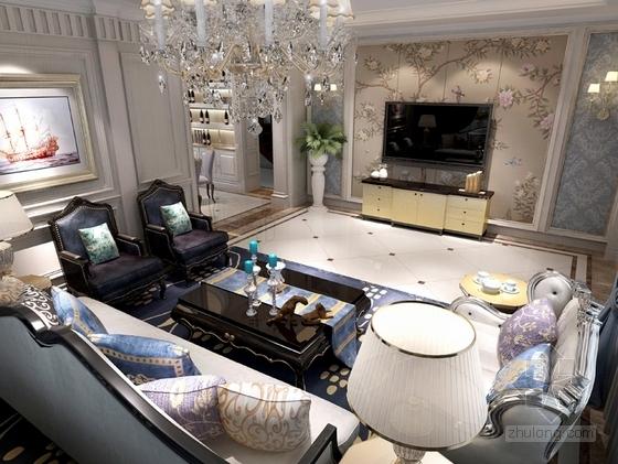 [沈阳]知名地产核心区新古典风格四居室样板间设计方案客厅效果图