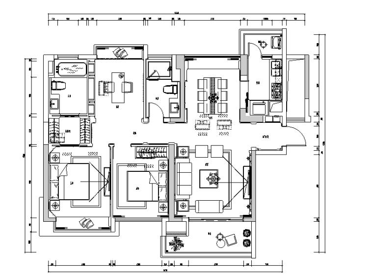 现代城样板房三居室住宅设计施工图(附效果图)