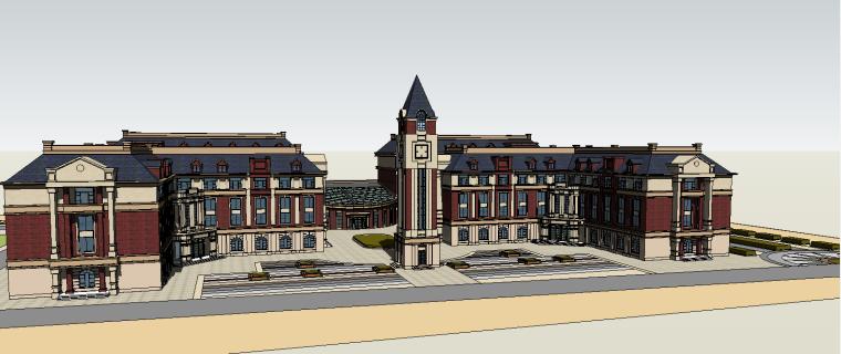 欧式校园SU建筑模型