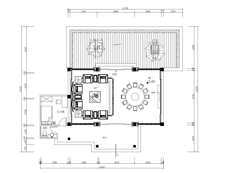 新中式风格-私人别墅接待餐厅装修施工图(附效果图)