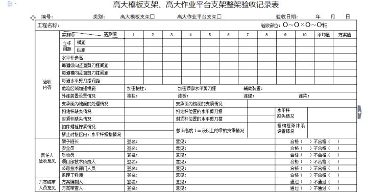 高大模板支架、高大作业平台支架整架验收记录表