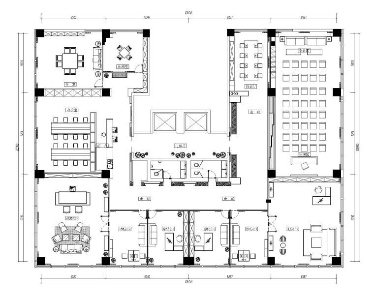 [山东]混搭--黄海城市花园七层办公平面装修施工图+效果图-平面空间布置图