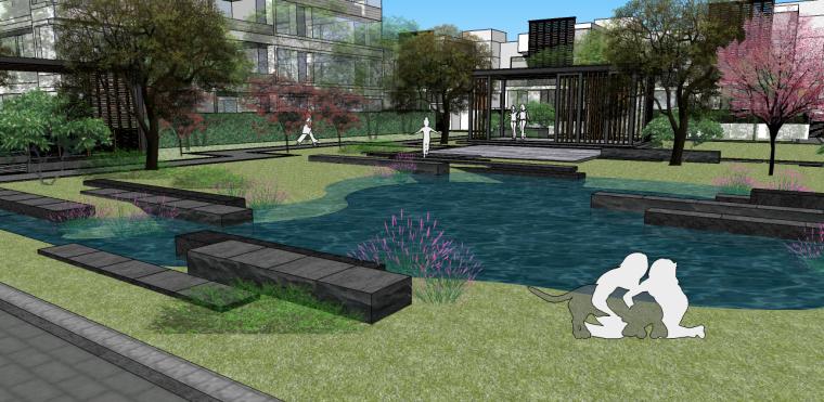 新中式居住區景觀su模型