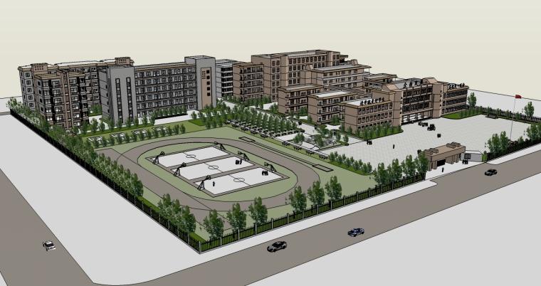 现代风格中学建筑规划设计SU模型