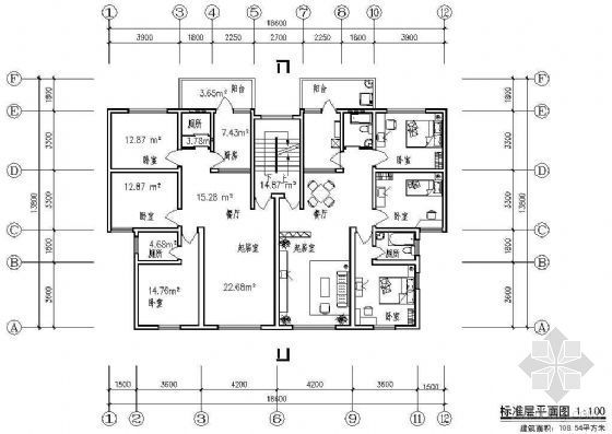 某板式住宅单元组合平面(二)