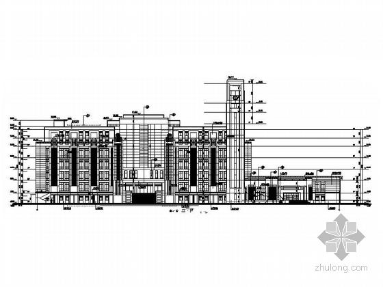 [上海]10层现代风格高校图书馆建筑施工图(知名设计院)-10层现代风格高校图书馆建筑立面图