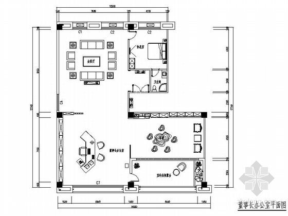 [原创]上市公司董事长办室设计CAD施工图(含效果图)
