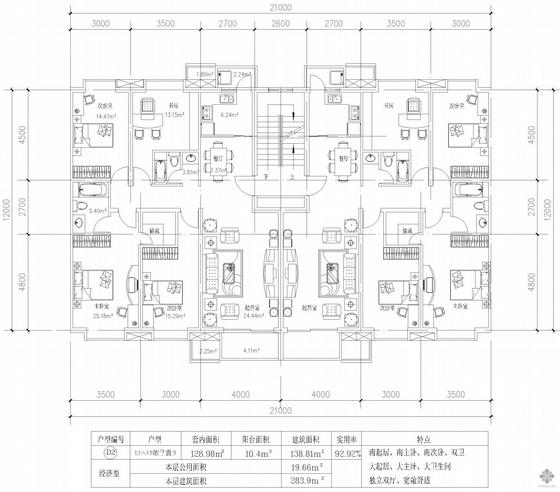 板式多层一梯两户四室二厅二卫户型图(284/284)