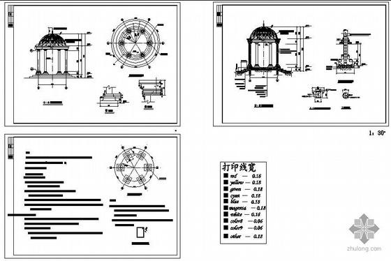 某欧式亭子建筑结构设计施工图