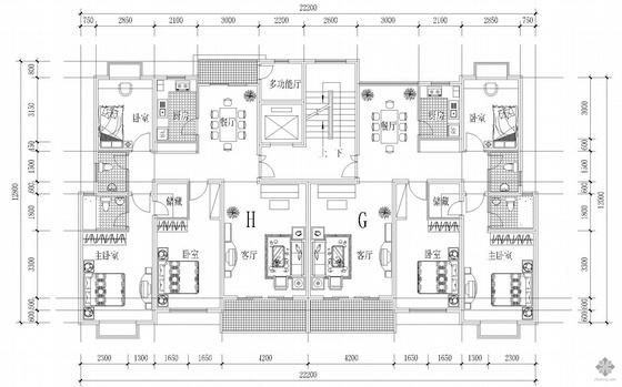 板式高层一梯两户户型图(131/124)