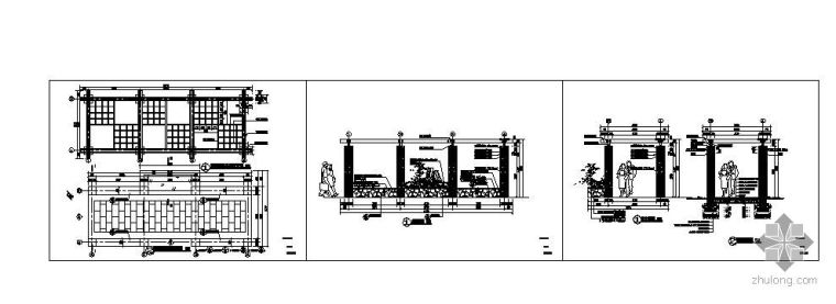 居住区常用廊架施工详图_3