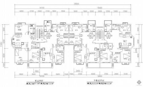板式多层一梯二户四户户型组合平面图(88/112/102/112)