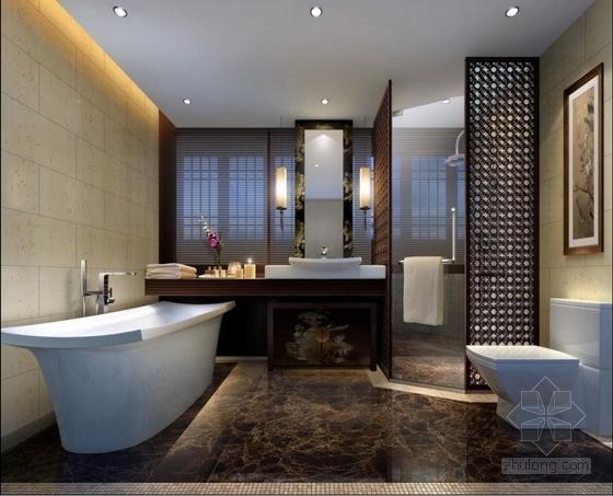 中式会所套房卫生间室内装修效果图