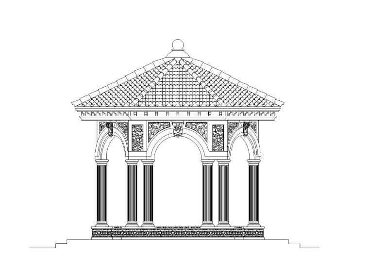 高端欧式风格景观亭施工图设计-恒大设计院