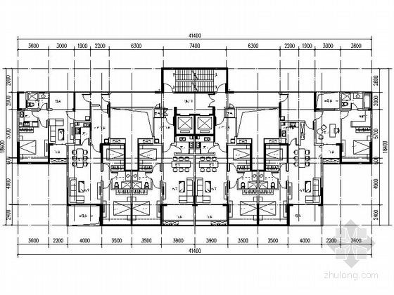 [万科户型]一核六户高层住宅户型平面图(434平方米)