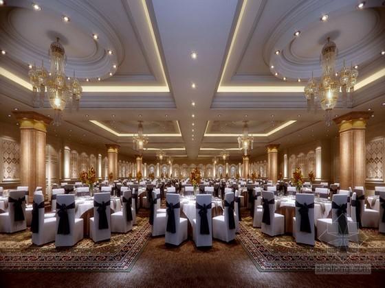 大型时尚宴会厅3D模型下载