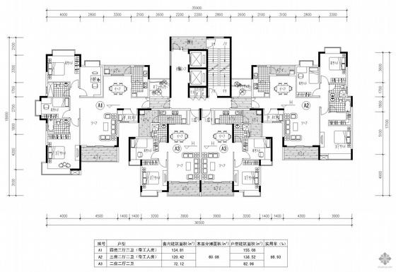塔式高层一梯四户户型图(155/139/83/83)