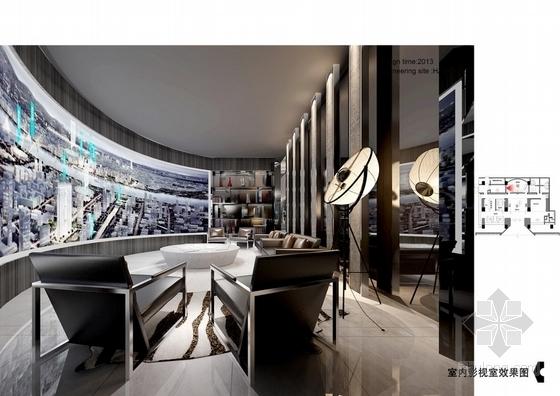 [杭州]CBD核心区绿色生态时尚现代售楼部设计方案室内影视室效果图