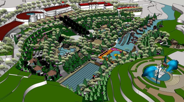 旅游度假区温泉景观建筑规划设计模型