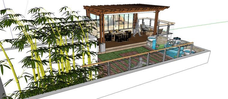 小庭院景观模型廊架设计-场景二