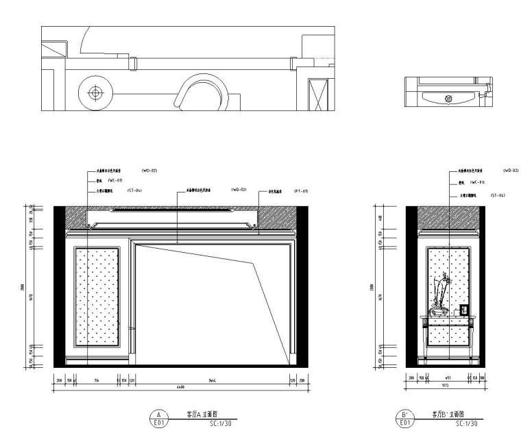 新古典样板房施工图设计(带效果)-客厅立面图