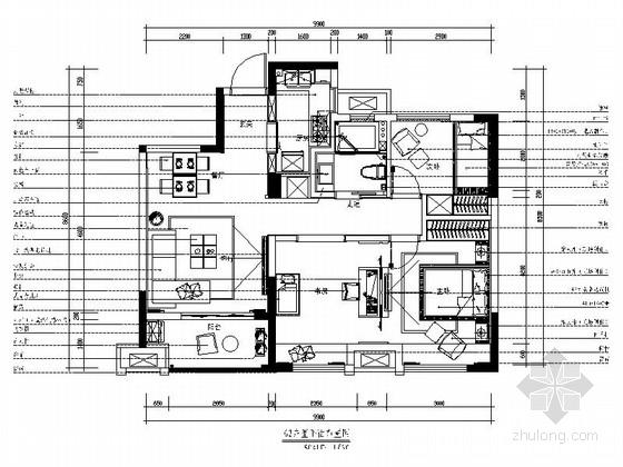 [西安]现代简约三居室样板房装修图(含效果)