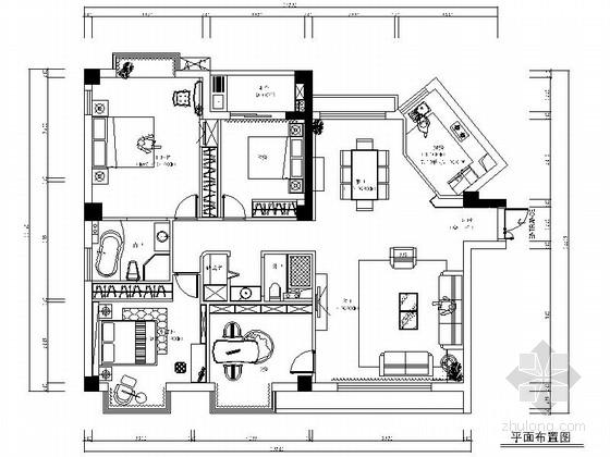 [广州]世纪广场典雅四居室样板间装修施工图