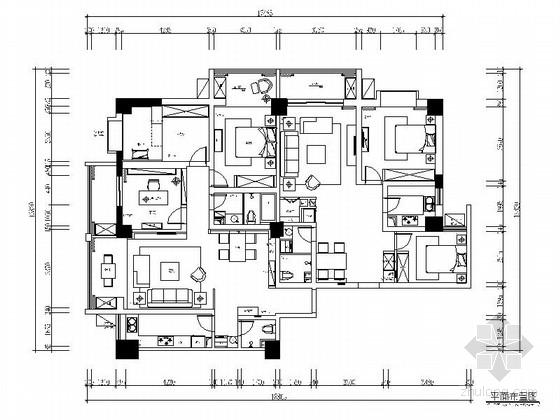 146平现代简约风格五居室样板间CAD装修施工图(含全套软装方案)
