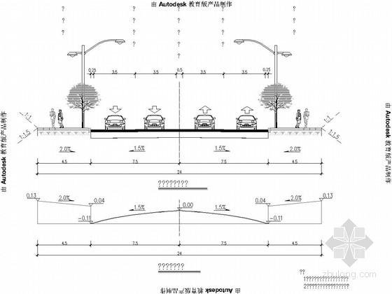 [安徽]红线宽24m中型路面交通城市次干路道路工程施工图195张(含交通 排水)