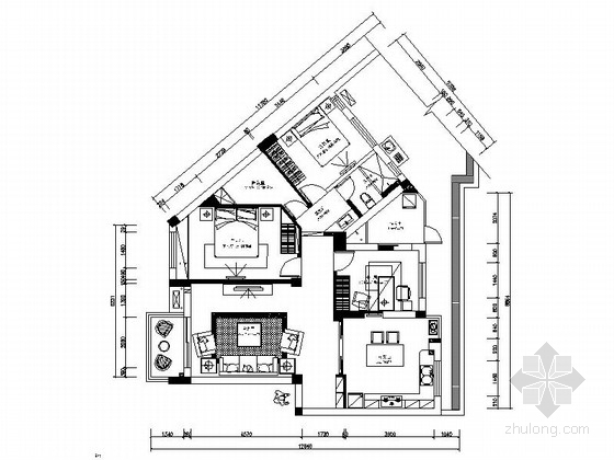 [江西]情景花园洋房现代三居室样板房装修施工图