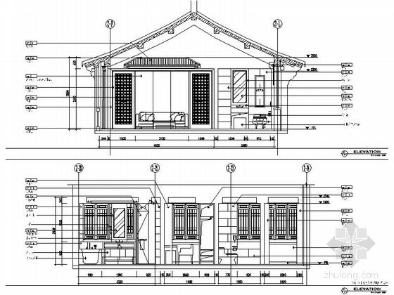 特色中式会所套房室内装修立面图
