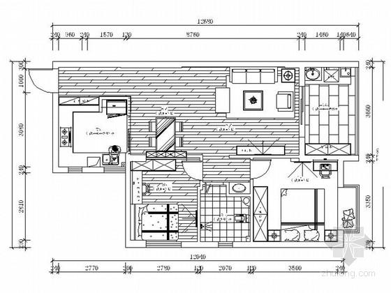 [湖北]时尚现代风格两居室室内装修施工图(含效果)