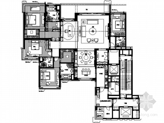 [广州]经典佳作奢华欧式六居室样板间装修施工图(含实景)