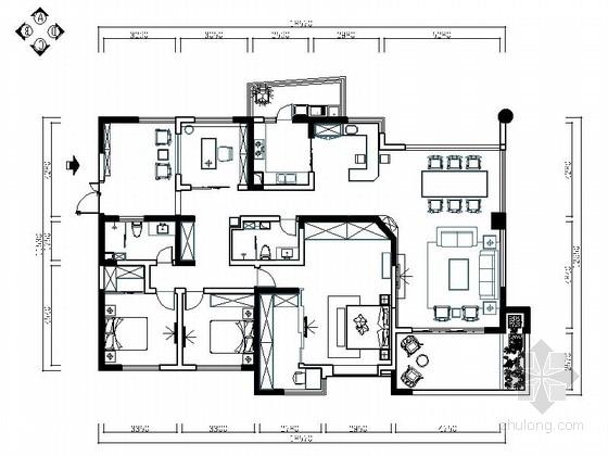 [成都]220㎡典雅中式风情五居室CAD装修施工图
